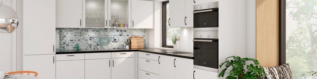 Flot køkken i sort hvide kontraster