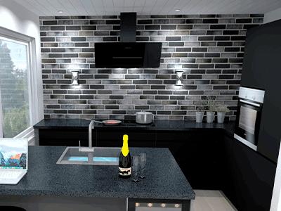 sort køkken køkkentegning nyt køkken vordingborg køkkenet