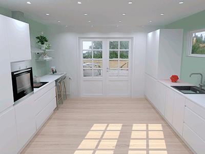 Hvidt grebsfrit køkken køkkentegning vordingborg køkkenet