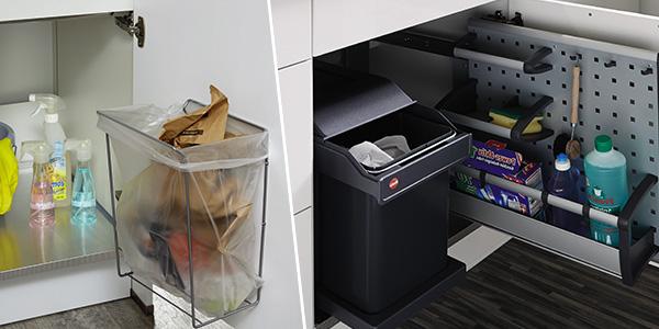 Hvilke muligheder er der for affaldssystemer i køkkenindretningen?