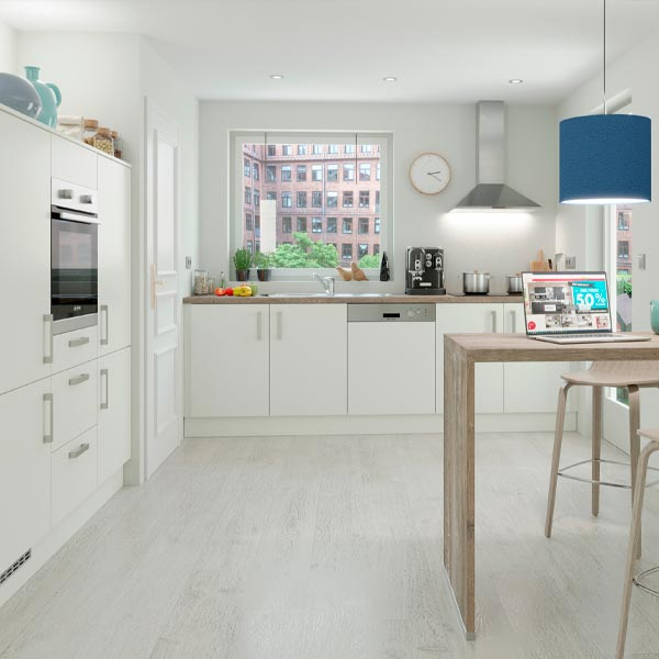 Køkkenserien Speed, alpinhvid. nyt køkken, Vordingborg Køkkenet