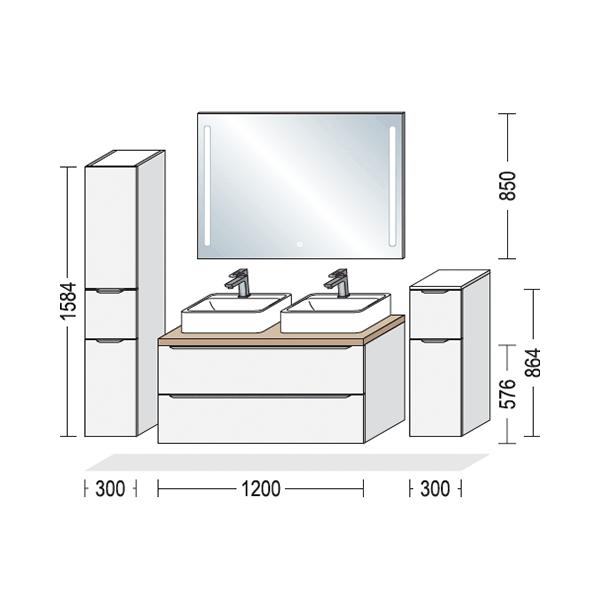 Nyt badeværelse, Touch, mål på opstilling, Vordingborg Køkkenet