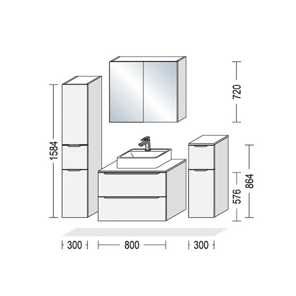 Badeværelse, mål på opstilling, Vordingborg Køkkenet