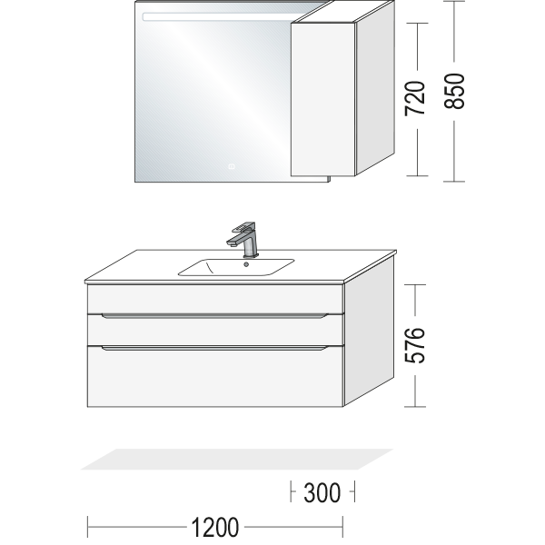 Badeværelsesmøbel med sten struktur