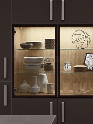 Easytouch, vitrinelåge, lys, nyt køkken, Vordingborg Køkkenet