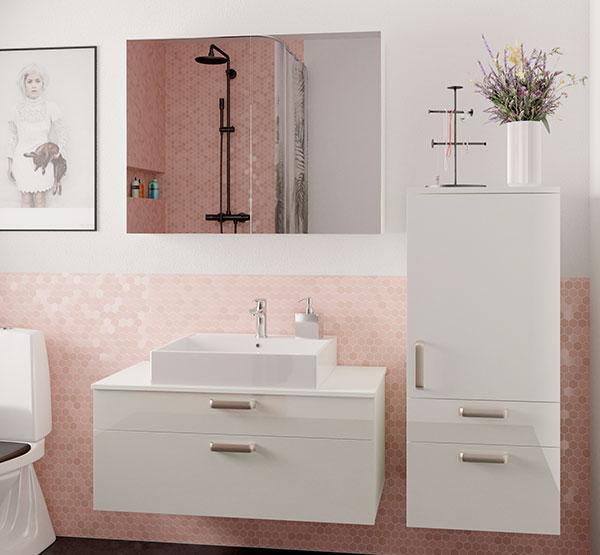 Flot højglans badeværelsesmøbler fra Vordingborg Køkkenet