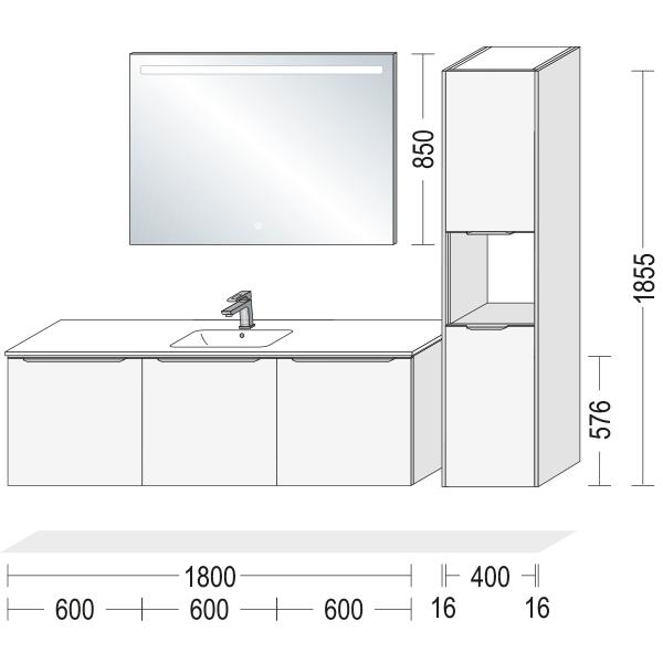 Badeværelsesmøbel i fyldningslåger