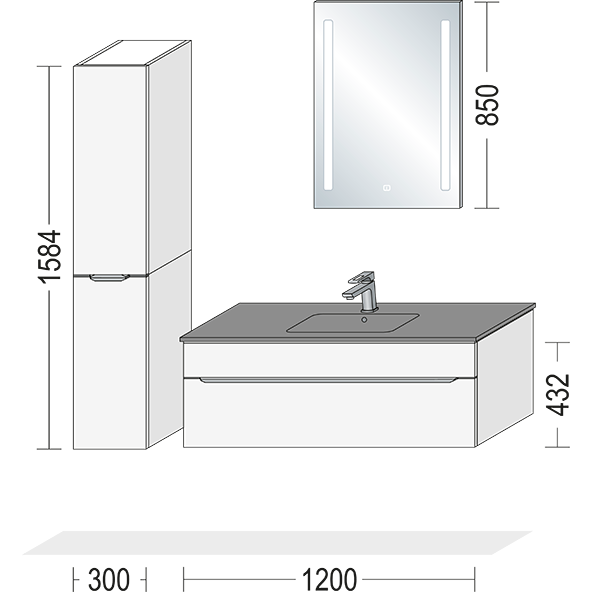 Hvidt grebsfri badmøbel