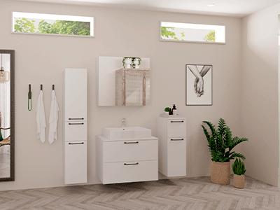 Badeværelse, hvidt badeværelse, Speed-serien, nyt bad, Vordingborg Køkkenet