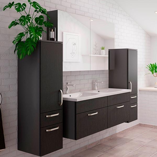 Sort badeværelsesmøbel, nyt bad, Vordingborg Køkkenet